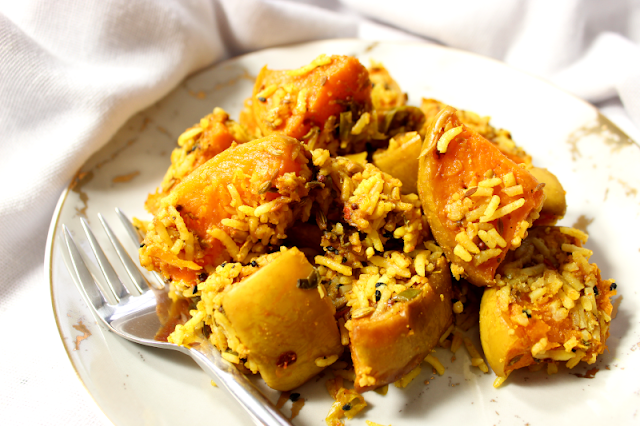 Roasted Sqaush with Rice and Lime Pickle and Indian Spices