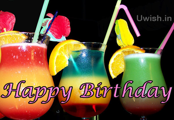 Happy birthday with flavored cooldrinks e greeting cards and wishes.