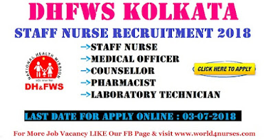 DHFWS Kolkata Staff Nurse Recruitment 2018