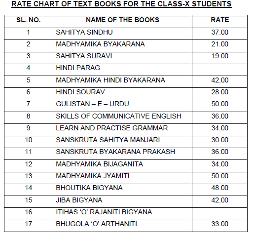 rate chart of class 10th text book