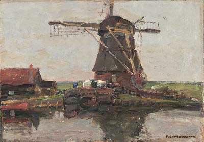 Piet Mondrian - πίνακας ζωγραφικής, λάδι σε μουσαμά.