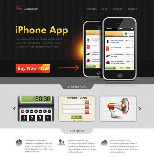 iPhone App website template (PSD)