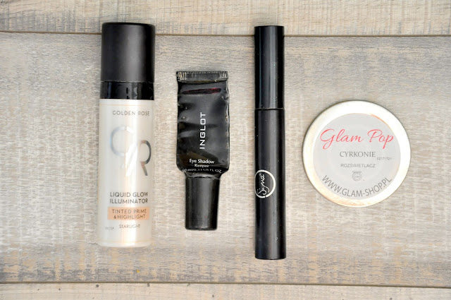 baza pod makijaż golden rose liquid glow illuminator tinted prime&highlight, baza pod cienie inglot eye shadow keeper, tusz do rzęs sigma beauty sinuosity lash, rozświetlacz glamshop glam pop cyrkonie