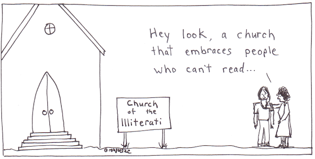 church of the illiterati. cartoon by rob g