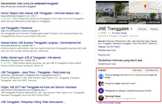 Ulasan pelayanan JNE Widowati Trenggalek dari Google