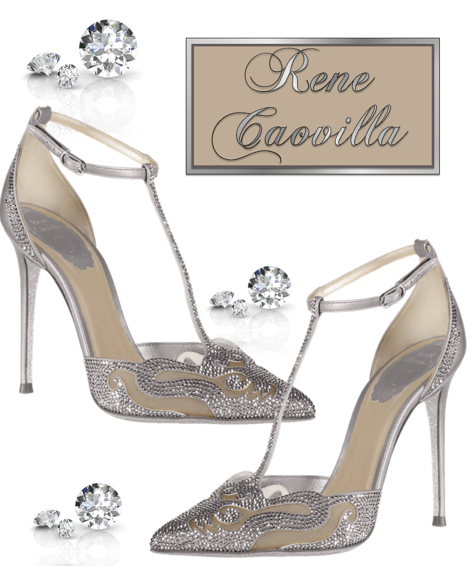 Rene Caovilla Crystal T-Strap Pointed-Toe Pump