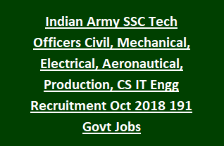 Indian Army SSC Tech Officers Civil, Mechanical, Electrical, Aeronautical, Production, CS IT Engineering Recruitment Oct 2018 191 Govt Jobs