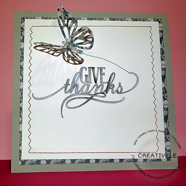scrapbooking card with butterfly and sentiment handpaint