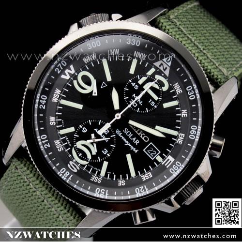 Seiko Solar Chronograph Nylon Strap Military Watch SSC137P1 979da81fe7b4