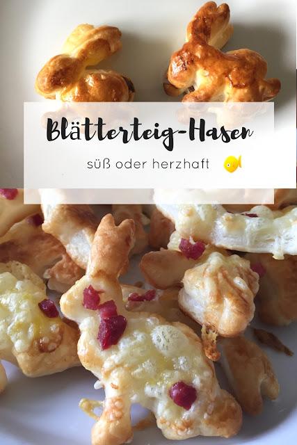 Blätterteig-Osterhasen mit Nutella oder Käse und Schinkenwürfeln - ideal für Ostern!