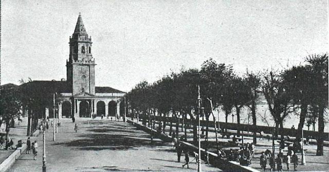 Gijón, Campo Valdés con la iglesia de San Lorenso al fondo, fotografía publicada en 1930