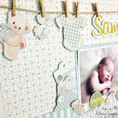 página lo layout scrapbook scrapbooking scrap recém nascido bebê new born newborn álbum decorado quadro quarto porta de maternidade menino