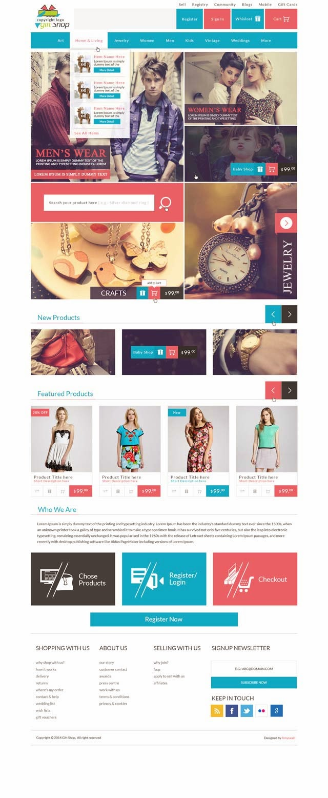 Modern Modular Gift Shop E-Commerce Website PSD