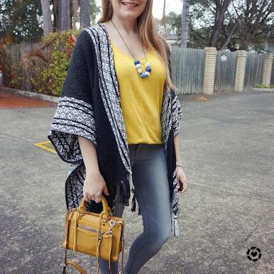 awayfromblue instagram | rebecca minkoff ruana poncho kimono frey skinny jeans mustard yellow regan bag