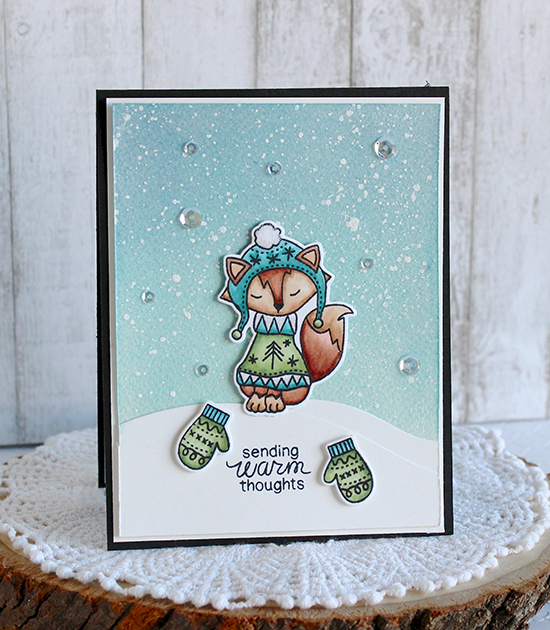 Fox in Sweater card by Melody Rupple | Sweater Weather Stamp set by Newton's Nook Designs #newtonsnook