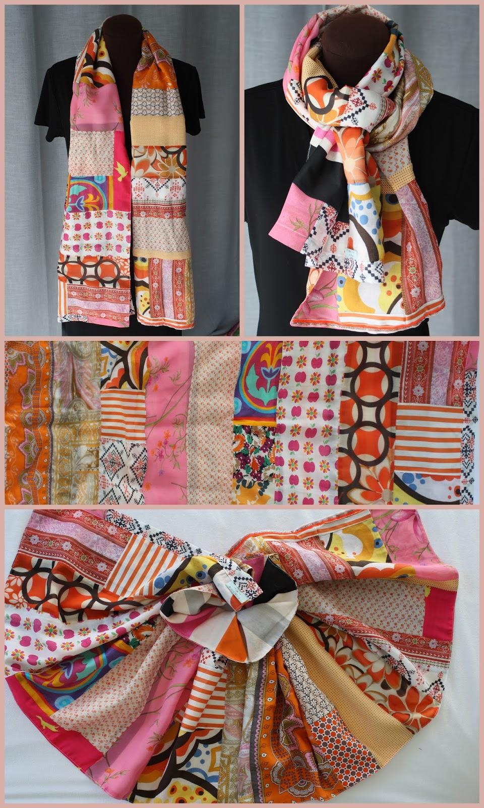 DAHLIA BLEU   foulard en soie, coton, polyester bordé de dentelle ancienne  et doublé de fin jersey. c4d20a3fae6