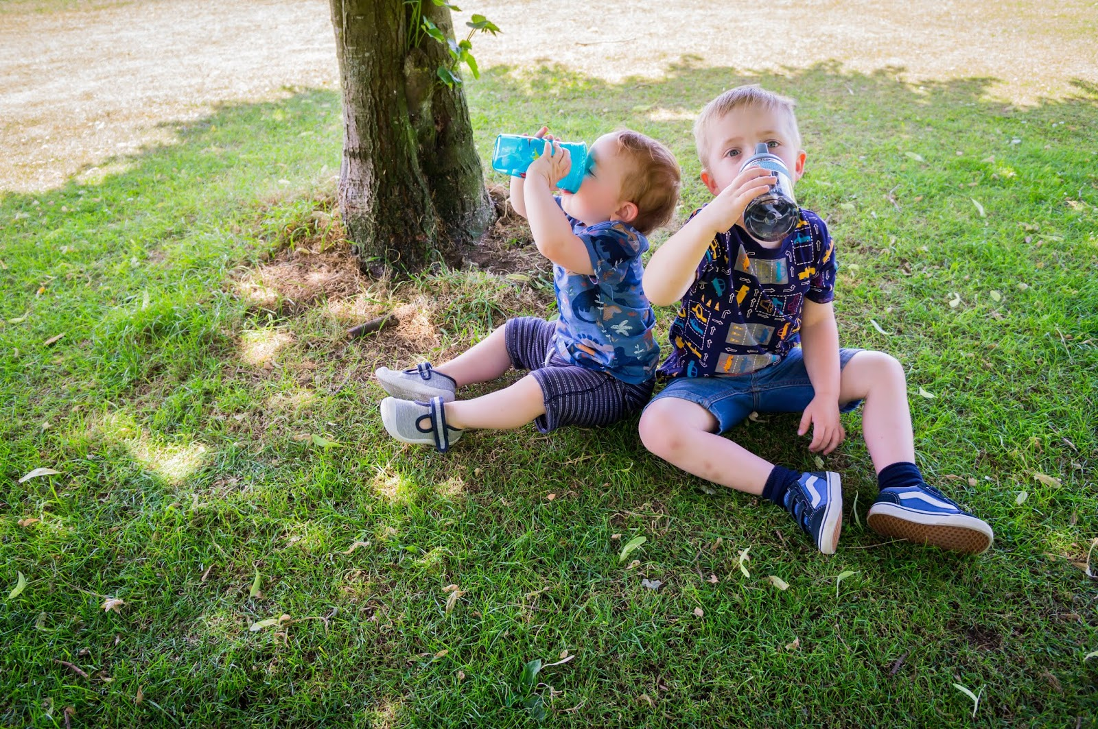 two boys sitting on grass under a tree drinking from nuby bottles and beakers