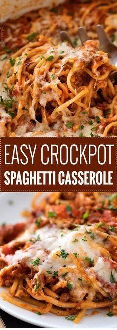 Easy Crockpot Spaghetti Casserole