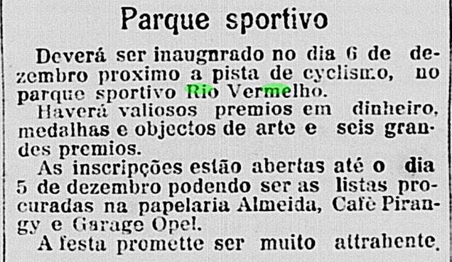 Inauguração da Pista de Ciclismo no Parque Esportivo de Rio Vermelho em 1914