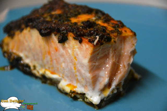 סלמון כוסברה שום Garlic coriander salmon