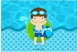 Boy in Pool: Free Printables invitations.