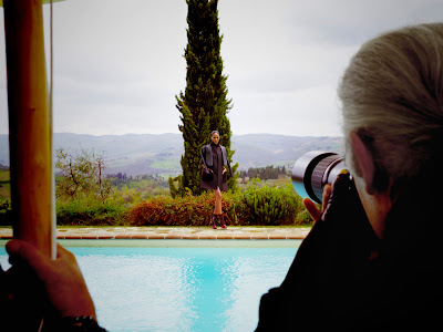 Karl Lagerfeld photographing Joan Smalls for Fendi's Fall/Winter 12-13 Ad Campaign Shoot Behind-the-Scenes