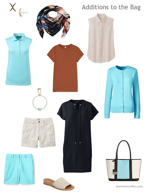 items to pack for warm weather in aqua, brown, beige and black