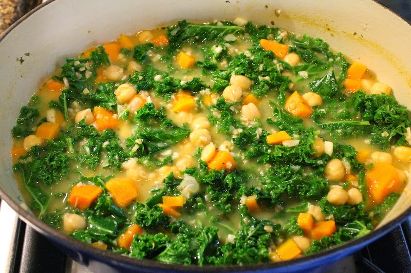 Food Lust People Love: This hearty chickpea veggie soup, full of vegetables and flavor, is thickened by a combination of nutritional yeast and steel-cut oats. It will stick to your ribs and keep you warm and your stomach satisfied for hours.