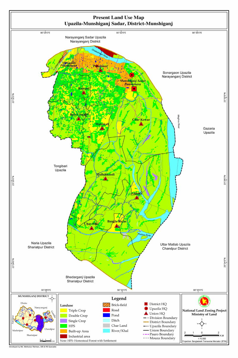 Munshiganj Sadar Upazila Mouza Map Munshiganj District Bangladesh