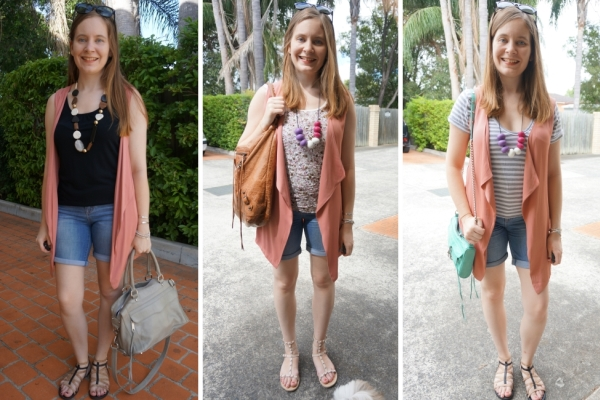 3 outfit ideas with pink vest and bermuda denim shorts | awayfromblue