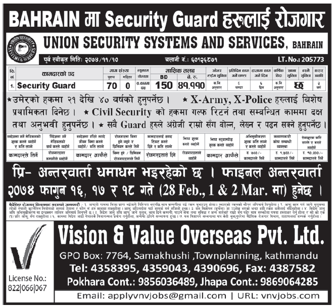 Jobs in Bahrain for Nepali, Salary Rs 41,110