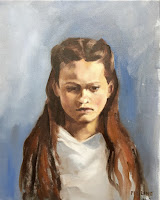 child portrait from life, oil on linen 40x50cm by portrait painter Philine van der Vegte