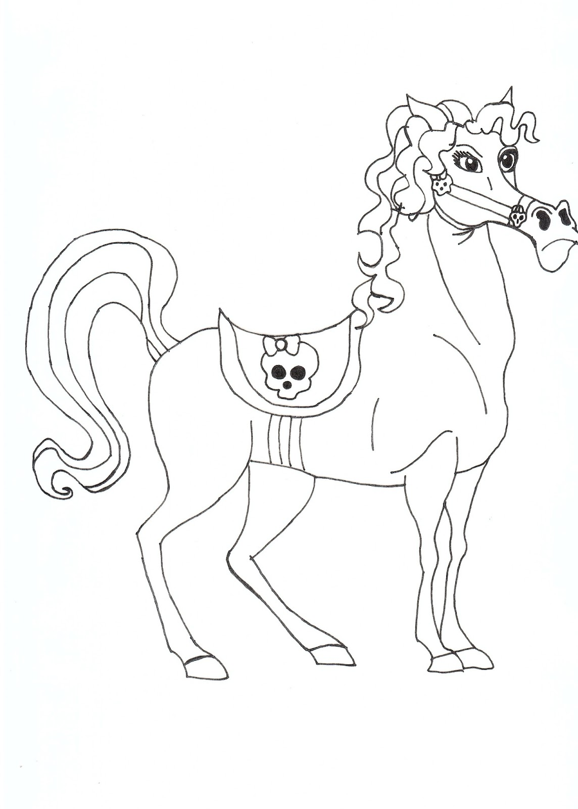 Free printable monster high coloring pages pet horse for Monster high pets coloring pages