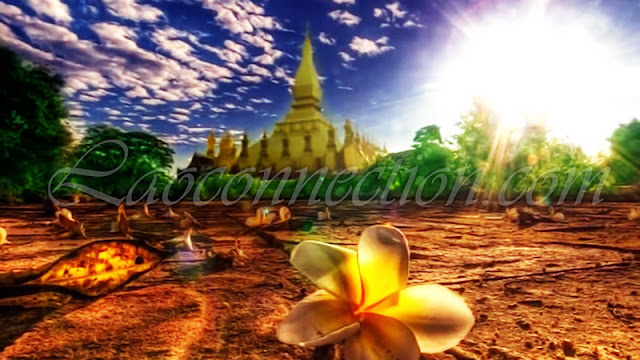 Two Lao Icons:  Tat Luang Temple and Dok Champa Flower
