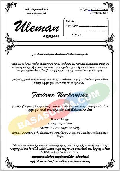Download Contoh Surat Undangan Atau Uleman Syukuran Bahasa Sunda