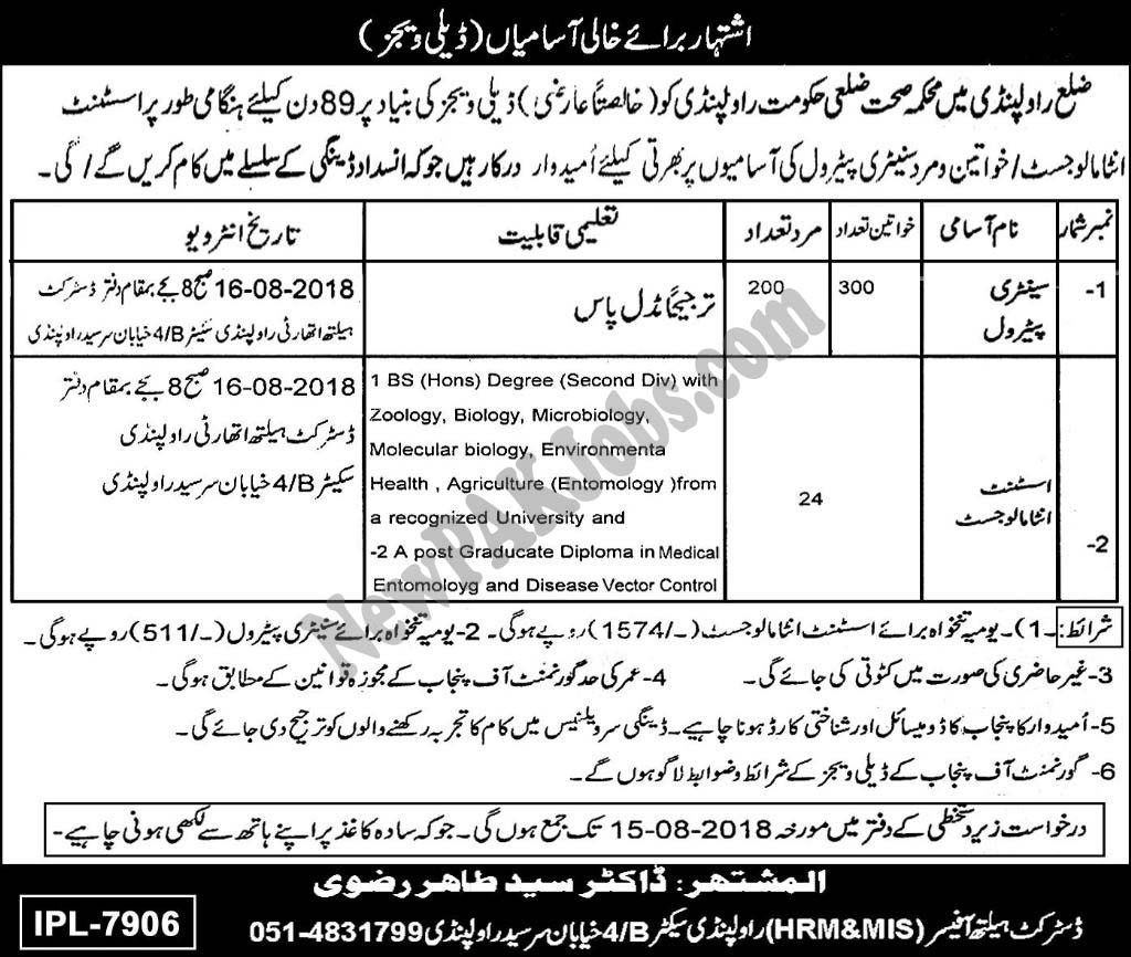 Daily Wages based Jobs in Health Department