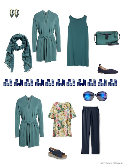2 outfits from a springtime Tote Bag Travel wardrobe in navy and teal