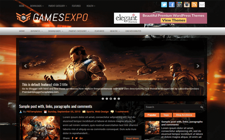 GamesExpo Free Blogger Template