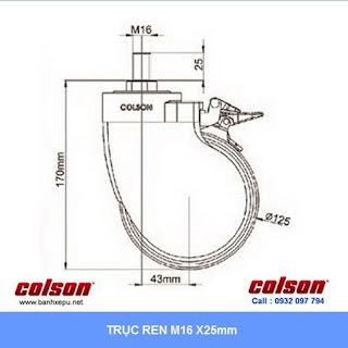 Bảng vẽ kích thước trục ren bánh xe đẩy y tế cao su BN Series chịu tải trọng 100kg :