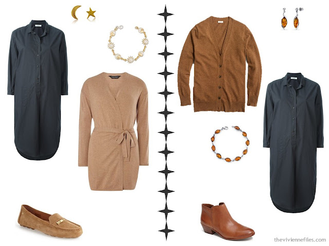 How to accessorize a grey dress with camel or caramel