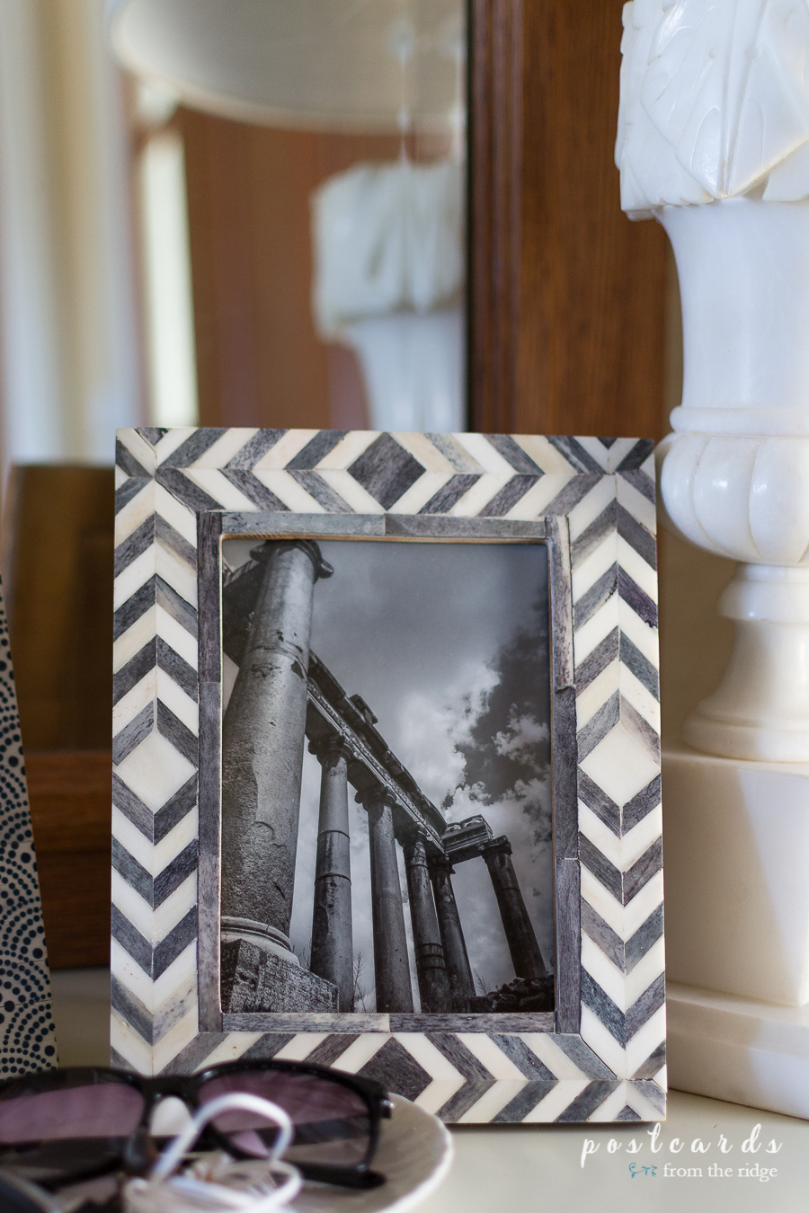 black and white tribal print photo frame
