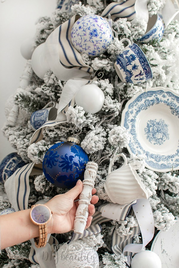 French farmhouse blue and white Christmas tree
