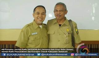 Ir. Adi Purnomo, MM. yang sebelumnya menjabat sebagai Kepala Dinas (Kadis) Kelautan dan Perikanan Energi Sumber Daya Mineral (DKPESDM) Kabupaten Sukabumi kini menjabat sebagai Kepala Dinas Ketahanan Pangan.