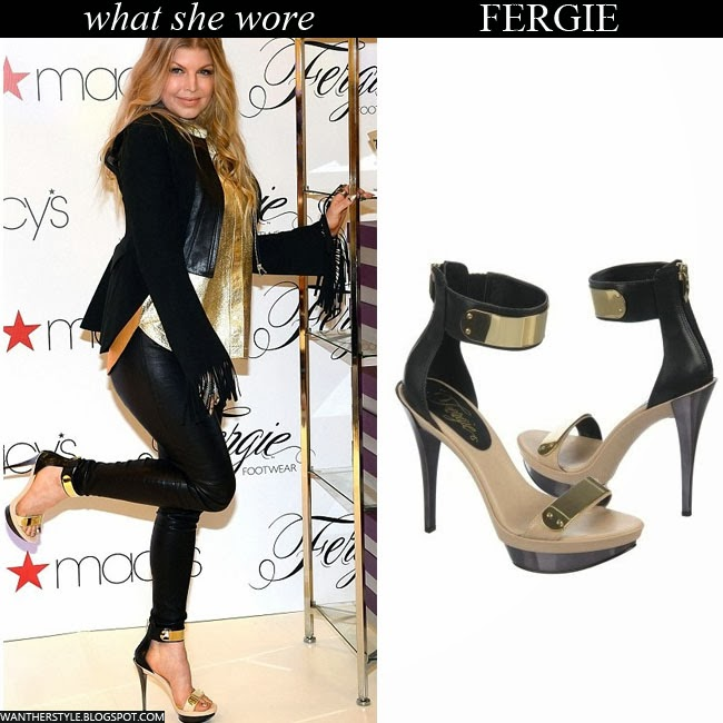 7bb4f2dd043 WHAT SHE WORE  Fergie in black and beige gold plated platform ...