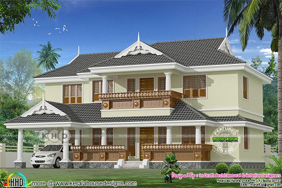 2514 square feet 4 bedroom typical Kerala home plan
