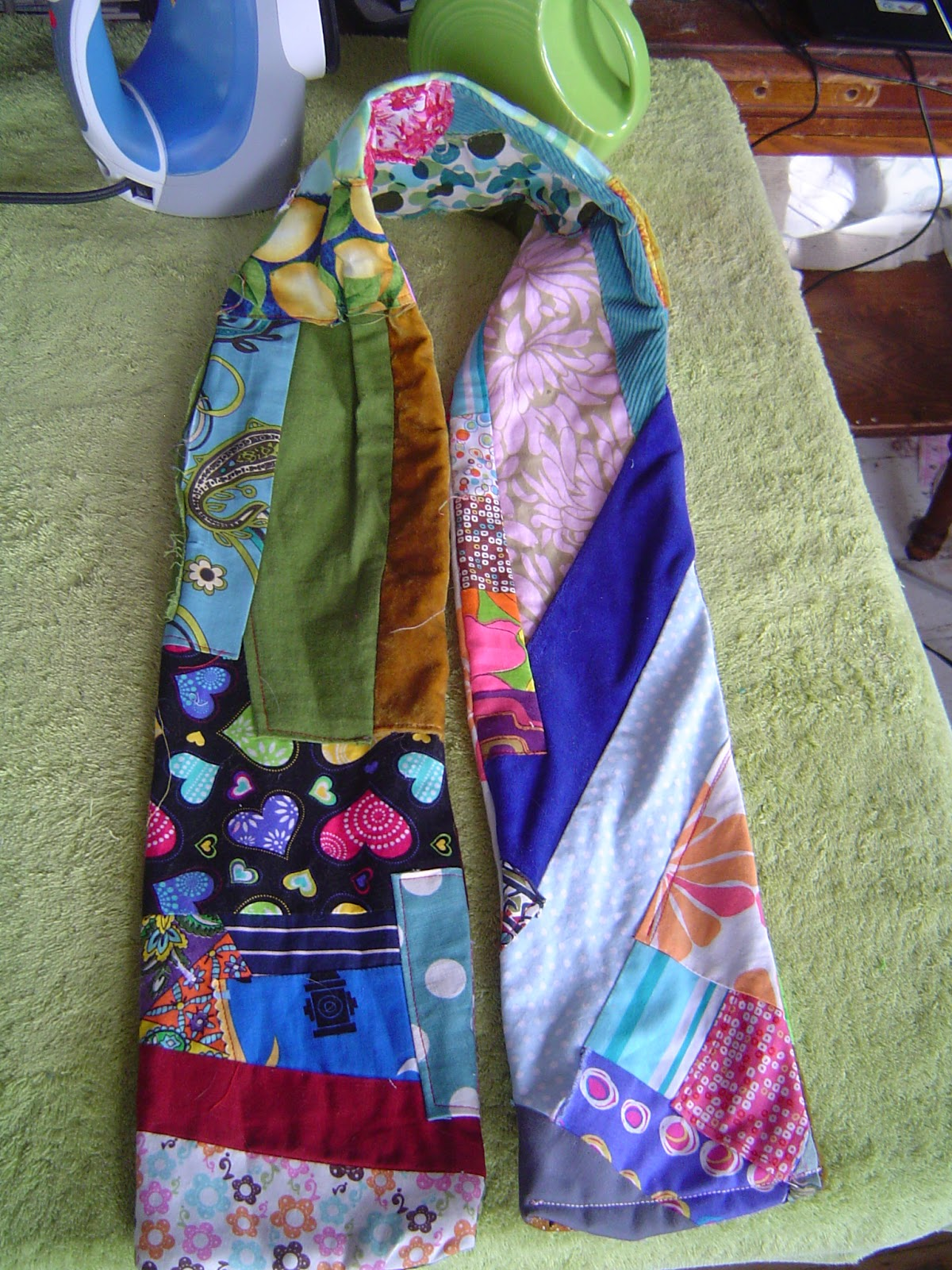 Recycled Quilt Scarf Made From Recycled Scrap Fabric