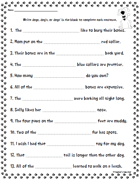 Singular Possessive Noun Practice Worksheets - using ...