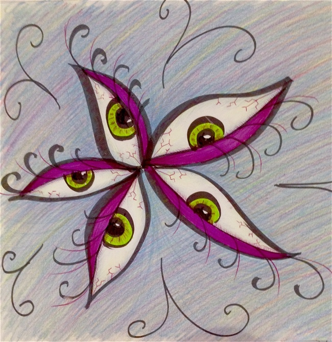 My Grinning Mind Flower Made Of Tired Eyes Drawing