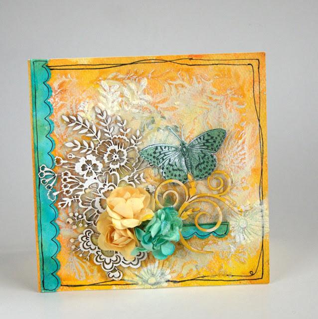 kartka z kwiatami i motylem mix media