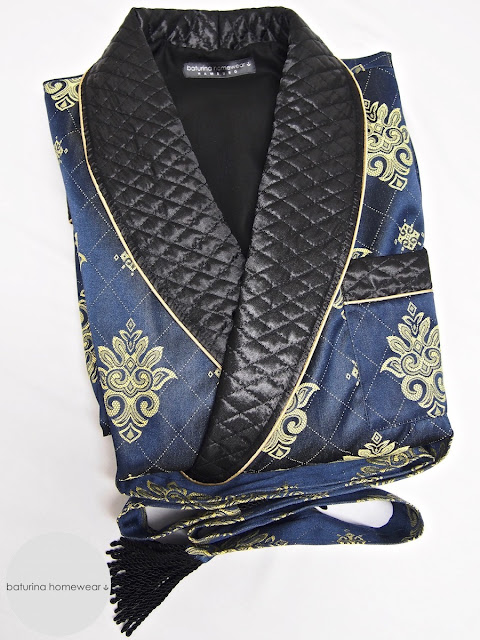 Mens quilted silk dressing gown robe